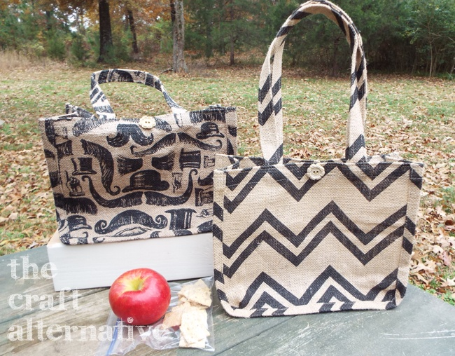 How to Make a Lined Burlap Lunch Bag