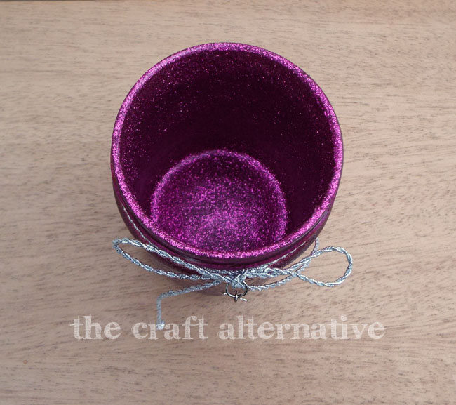 Add Glitter and Frosted Vinyl to a Recycled Jar_Inside