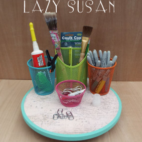 Keeping Supplies Handy with a Lazy Susan Organizer
