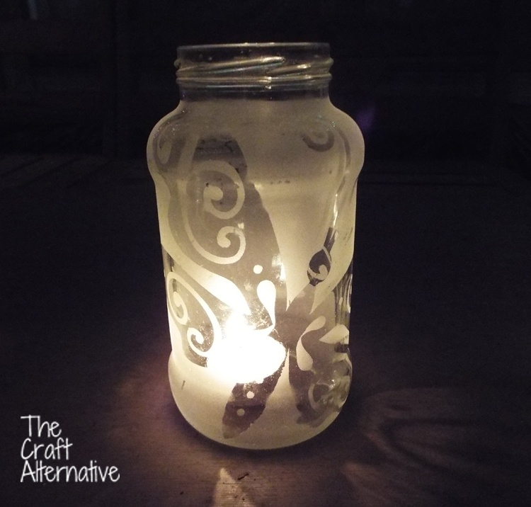 Easy to Make Frosted Jar Lanterns_Butterfly