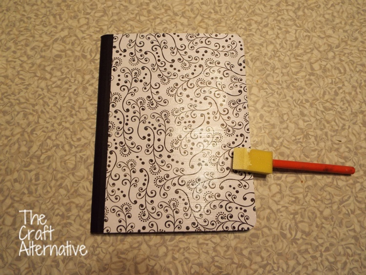 Adding Scrapbooking Paper and Washi Tape to a Composition Notebook_Mod Podge