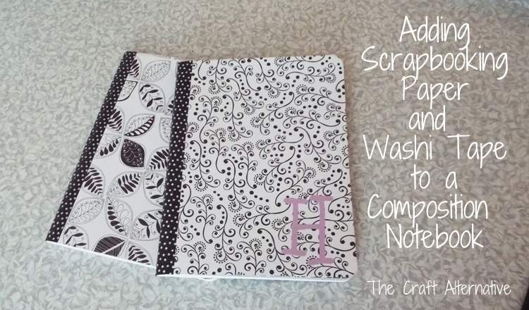 Adding Scrapbooking Paper and Washi Tape to a Composition Notebook_Finished