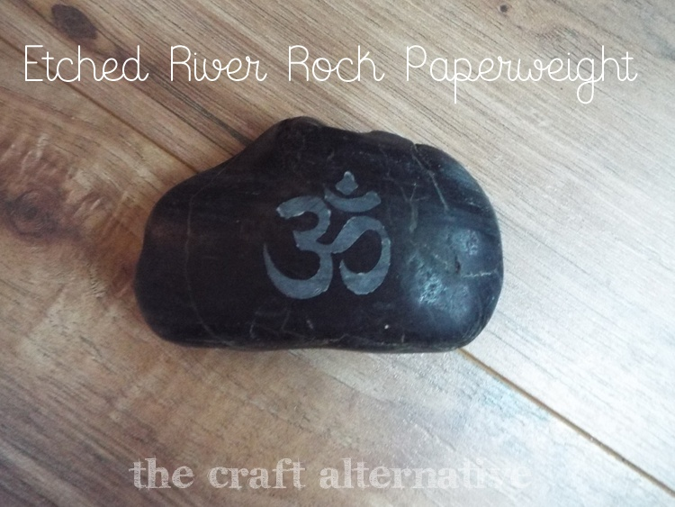 etched river rock paperweight