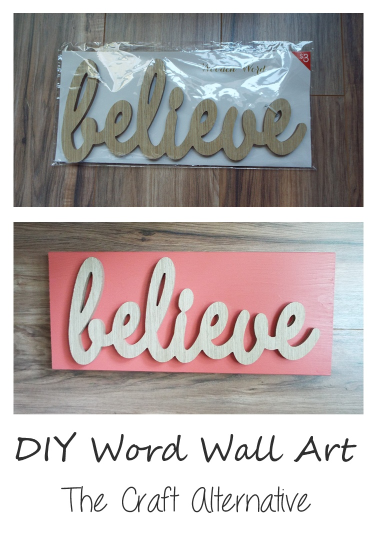 An MDF word cutout paired with a painted wood board becomes beautiful DIY word wall art!